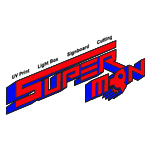 Super Man Signboard, Aluminium & Glass